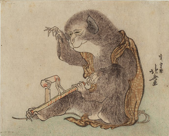 Mead_Hokusai_ca.1800_monkey_playing_with_monkey_toy_7b