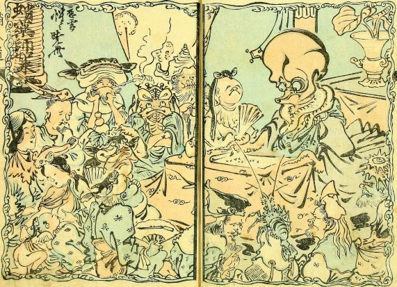 Kyosai_Robun_Reverend_Octopus_Preaches_to_the_Fishes_7c