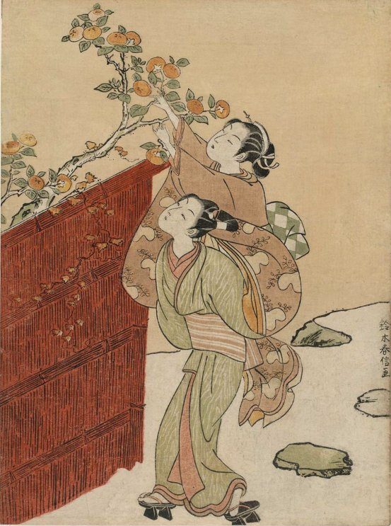 MFA_Harunobu_young_couple_picking_persimmons_7b