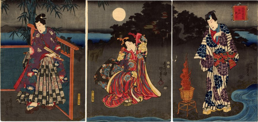 Lyon_Collection_Kunisada_triptych_Rustic_Genji_Ishiyama_moon_7b