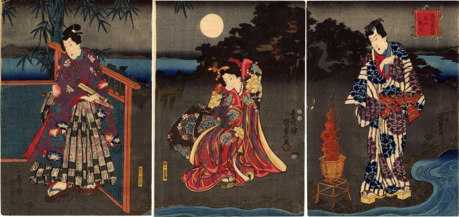 Lyon_Collection_Kunisada_triptych_Rustic_Genji_Ishiyama_moon_7b