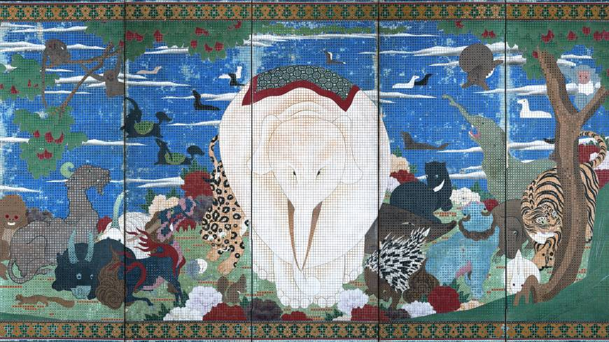 Jakuchu_white_elephant_screen_Price_Collection_8