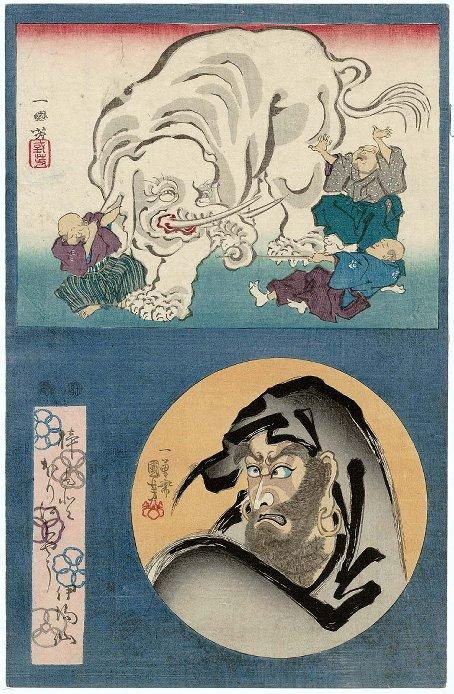 MFA_Kuniyoshi_Daruma_blind_men_elephant_7c