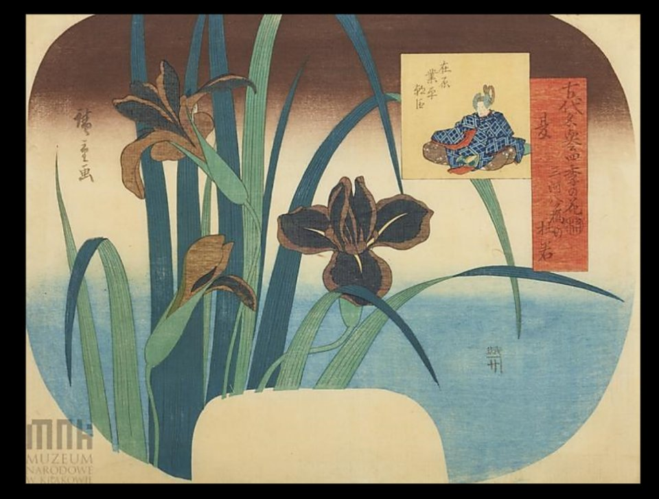 Hiroshige_Yatsuhashi_irises_fan_poet_Krakow2b