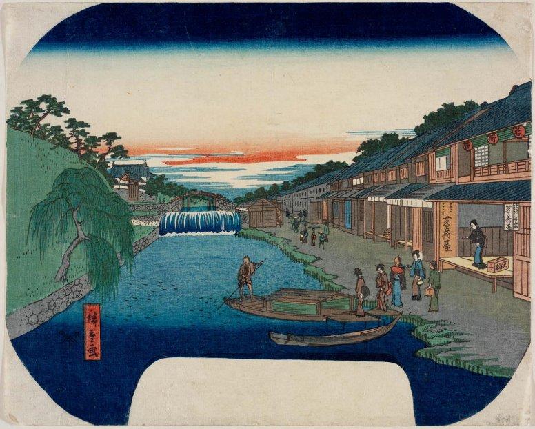 MFA_boat_landing_on_canal_fan_Hiroshige_7b