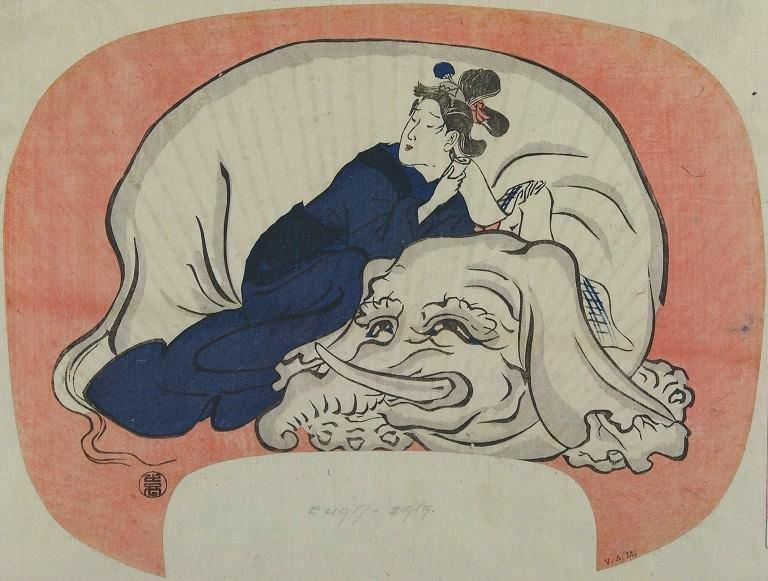 VAM_Hiroshige_uchiwa_Eguchi_no_kimi_fan_elephant_7b