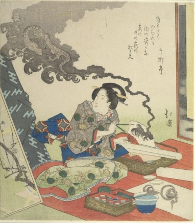 Harvard_Hokkei_surimono_woman_painting_dragon_7b