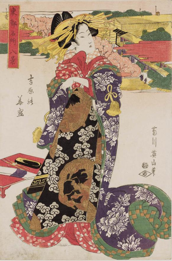 MFA_Eizan_Yoshiwara_cherry_blossoms_dragon_7b
