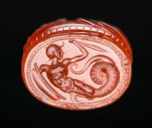 MFA_scarab_ca.450_BC_Jason_being_swallowed_by_a_dragon_7b