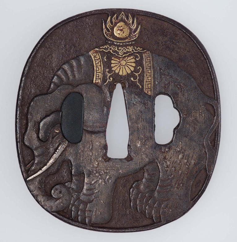 MFA_tsuba_18th_19thc_caparisoned_elephant_Yasuchika_flaming_pearl_7b