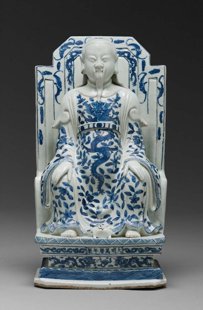 MFA_Wanli_Daoist_deity_of_north_porcelain_blue_white_dragon_7b