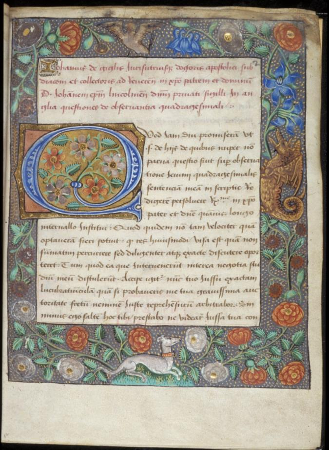 BL_Tudor_dragon_grayhound_ca._1478_illuminated_'Q'_7b