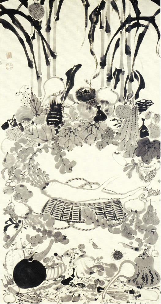 kaso-nehan-zu-scene-of-buddhas-nirvana-by-vegetables